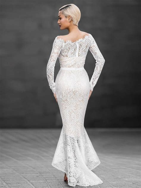 sexy lace dress white mermaid   shoulder high