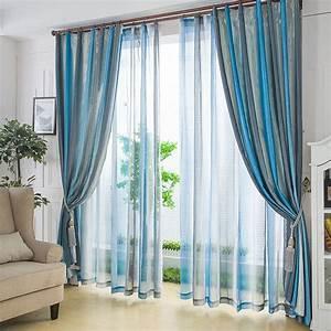 Rideau Bleu Gris : rideaux et voilages rayure originaux couleur bleu et gris d grad le march du rideau ~ Teatrodelosmanantiales.com Idées de Décoration