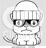 Robber Kitten Mad Cartoon Lineart Outline Clipart Animal Cory Thoman sketch template