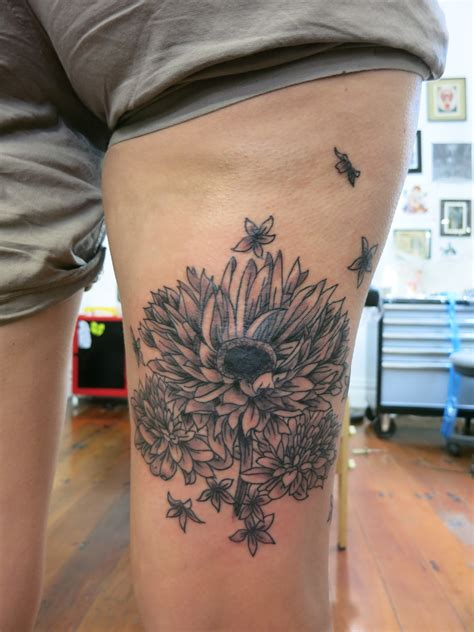 cute sunflower tattoo  sunflower thigh tattoo  tattoochiefcom