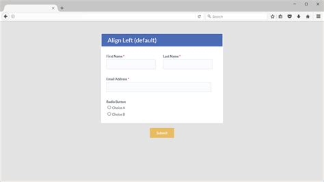 Div Align Right by Align Your Formsite Form To Left Right Center