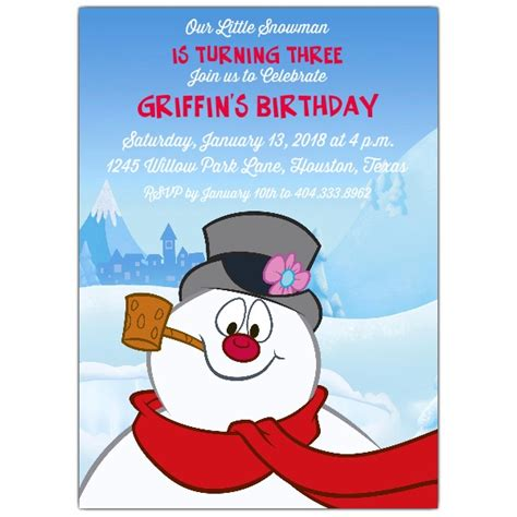 frosty  snowman invitations paperstyle