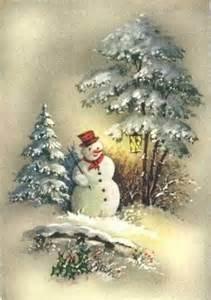 Vintage Christmas Snowman Scenes
