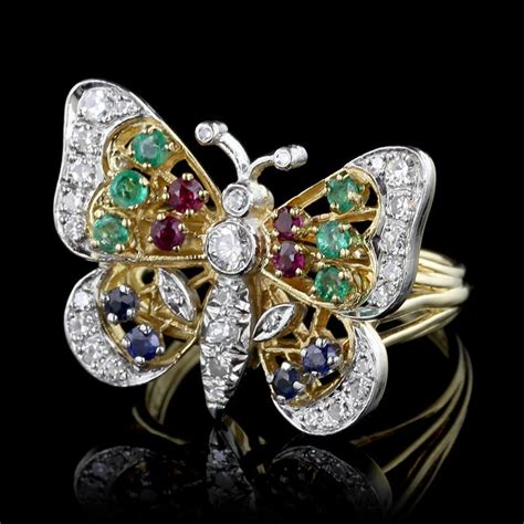 platinum and 18k yellow gold gem set butterfly ring s jewelers