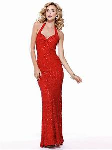 Elegant Halter Neck Floor Length Sheath Red Sequined ...