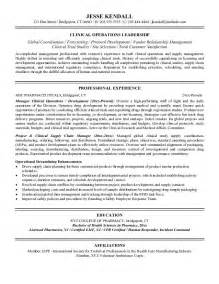 healthcare manager resume objective exle clinical operations manager resume free sle