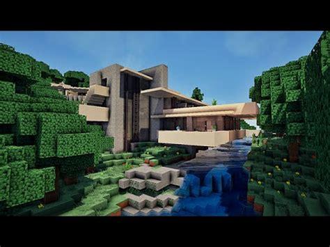 maison moderne sur une cascade falling water sur minecraft