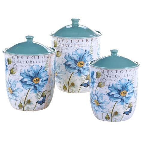 Canister Set Garden 3 Piece Ceramic Canisters Kitchen
