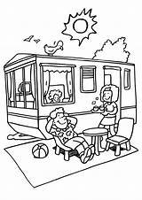 Camping Coloring Trailer Rv Van Caravan sketch template