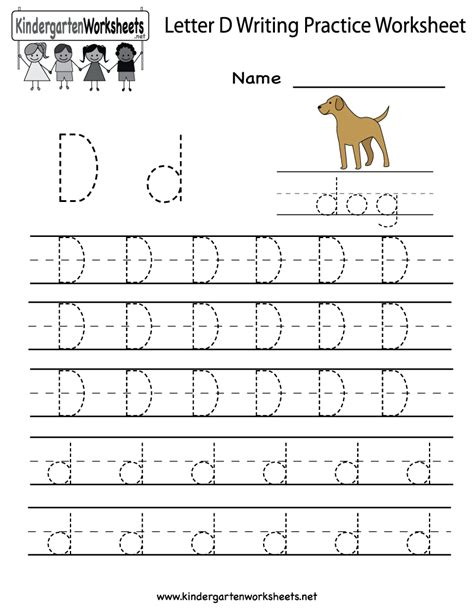 kindergarten letter d writing practice worksheet printable