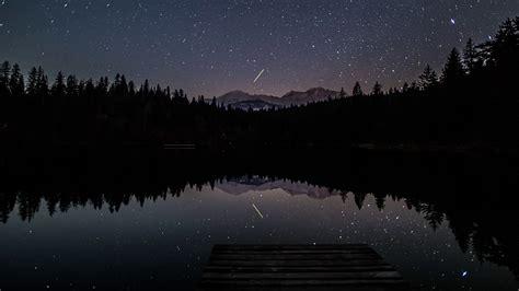 Night Lake Stars Moon Mountains Timelapse 4k Stock Video