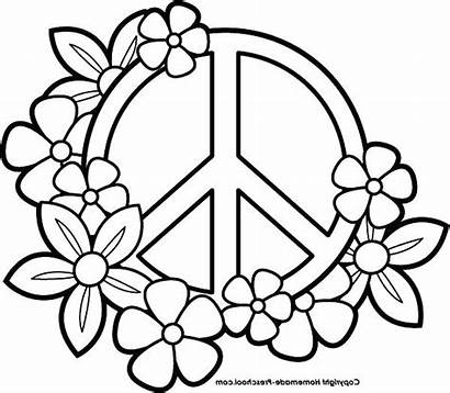 Peace Coloring Pages Sign Signs Heart Printable