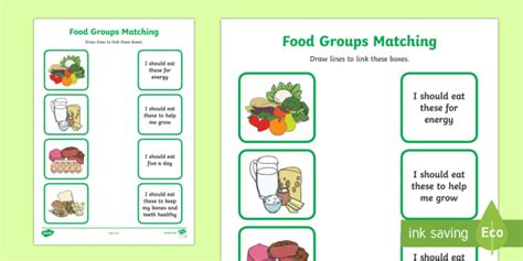 food group matching activity worksheet health resource
