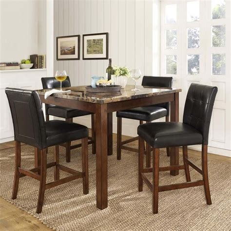 piece faux marble top counter height dining set da