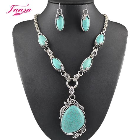 fashion vintage necklace set antique silver turquoise