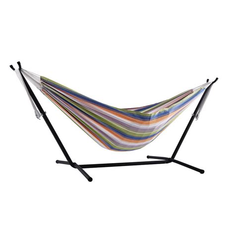 Vivere Hammocks by Vivere 9 Ft Cotton Hammock With Stand In Retro