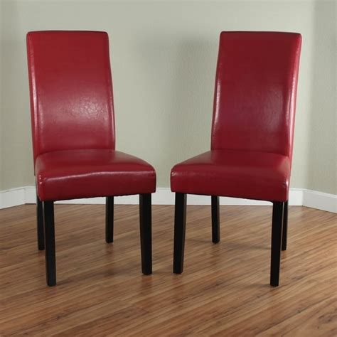 shop villa faux leather red dining chairs set