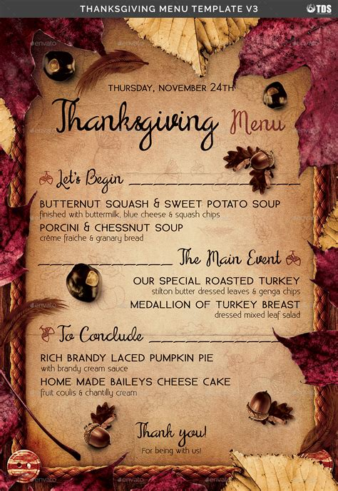 thanksgiving menu template   lou graphicriver