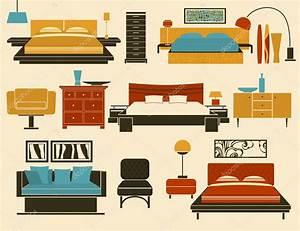 Bedroom Furniture and Accessories — Stock Vector © LanaN ...