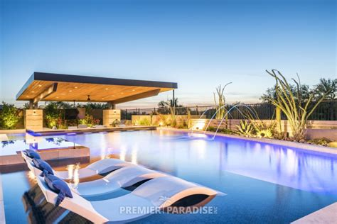 custom pool  cantilevered outdoor kitchen scottsdale
