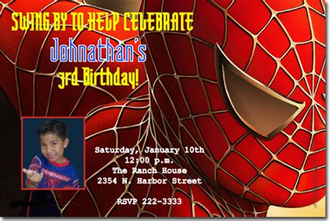 spiderman birthday invitations super hero birthday
