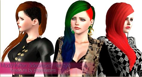 side shaved hairstyle retextured  phantasia sims  hairs