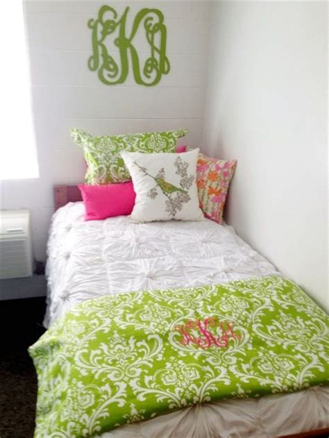 fresh green dorm decor pinterest initials monogram  bed  girls