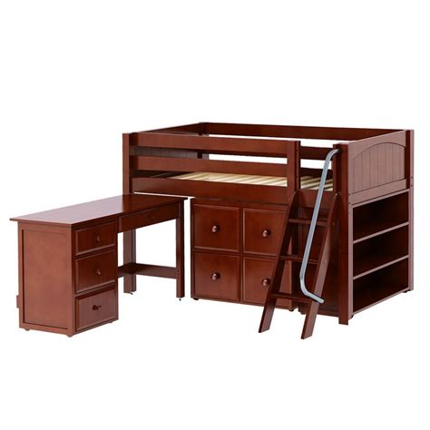kicks low loft bed with student desk cube unit and bookcase