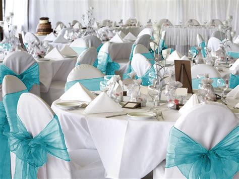 10 turquoise aqua organza chair covers sash bow wedding ebay