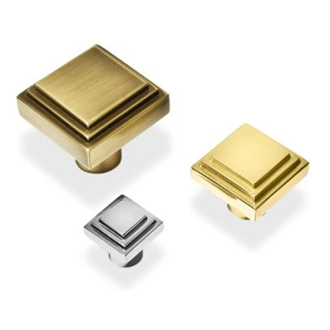 square chrome cabinet knobs henry blake art deco square stepped cupboard knobs in