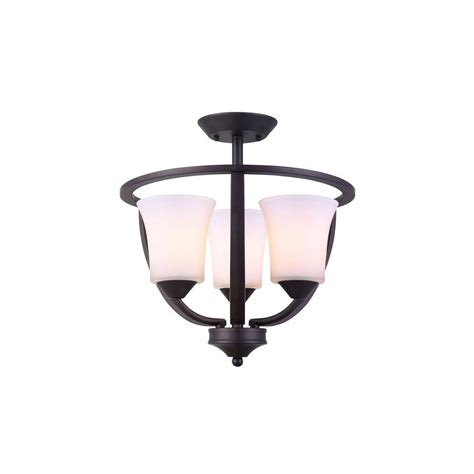 canarm 3 light rubbed bronze semi flush mount