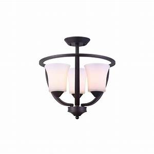 Canarm austin 3 light oil rubbed bronze semi flush mount for Bronze semi flush mount light