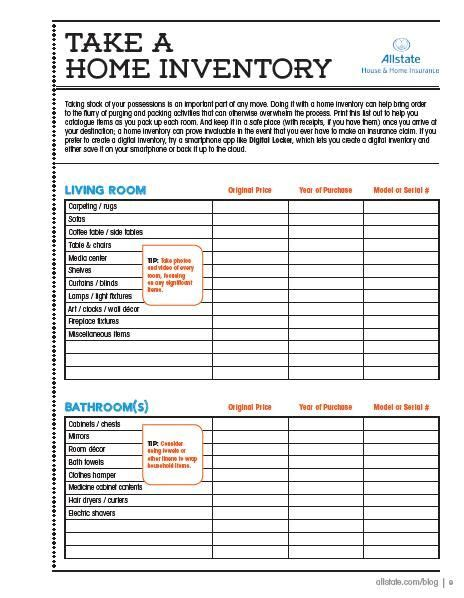 Here Is A Printable Home Inventory Checklist So You Can Take Stock Of Everything You're Taking