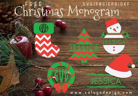 christmas monogram  svg png dxf eps