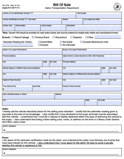 Transport Bill Sle by Dmv Idaho Transportation Department Ebook Database
