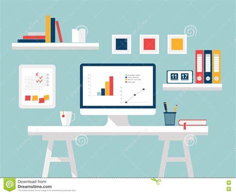 home office flat design vector illustration  modern
