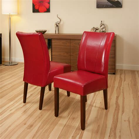 set    dining chairs chair red leather high