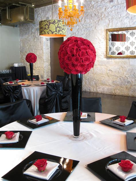 red and black table ls chic and elegant style alamo plants petals