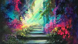 Acrylic Painting Of The Enchanted Garden