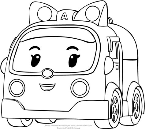 Kleurplaat Robocar Poli by In Car Version From Robocar Poli Coloring Pages