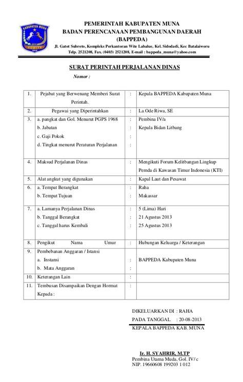 Contoh Surat Perjalanan Dinas Perusahaan Swasta by Perjalanan Dinas Kabupaten Muna