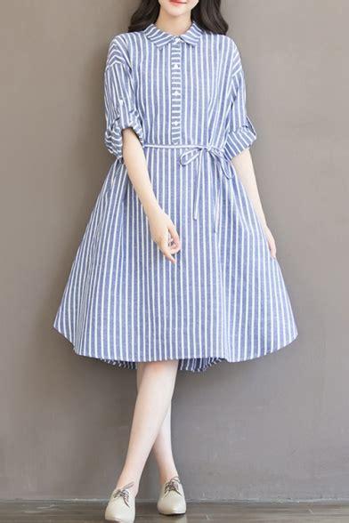 retro striped pattern lapel collar sleeve buttons