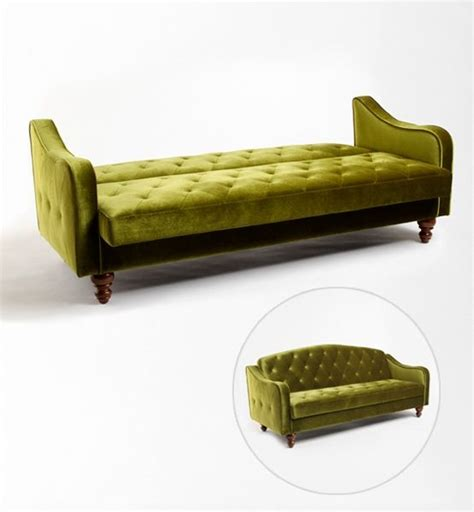 funky little tufted sofa and guest bed life made