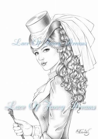Coloring Victorian Adult Woman Kleurplaat Vrouw Printable