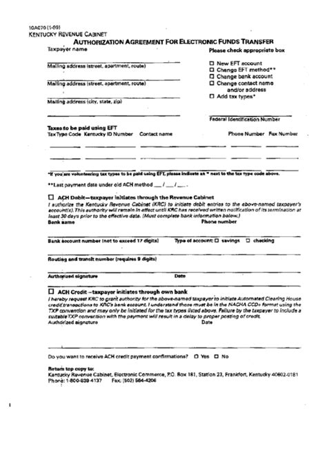 form  authorization agreement  electronic funds