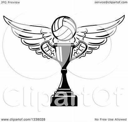 Trophy Vector Volleyball Cup Clipart Coloring Navy