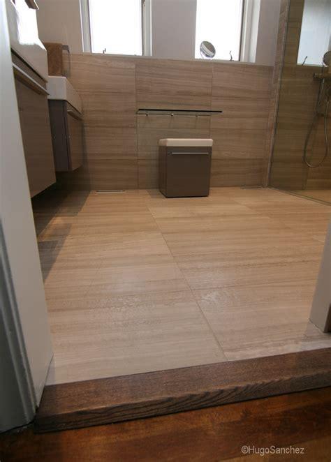 curbless limestone shower ceramiques hugo sanchez