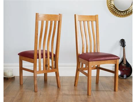 farmhouse solid oak dining chair red leather seat pad