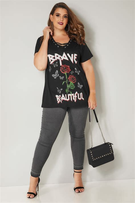 black brave slogan t shirt with studs plus size to 36