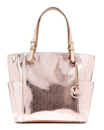 michael kors jet set eastwest signature tote mirror metallic rose gold hmtttz